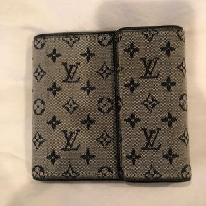 LV canvas blue monogram wallet - EUC